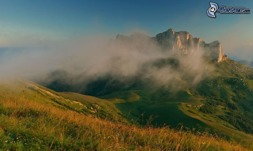 hill, rocks, greenery, cloud