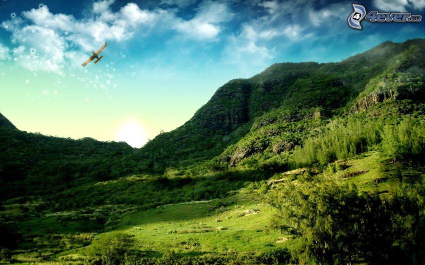 hills, greenery, aircraft