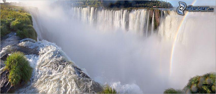 huge waterfall, rainbow