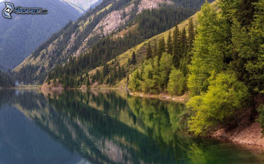 Kolsai Lakes, hills, reflection