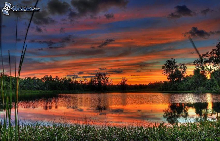 lake, after sunset