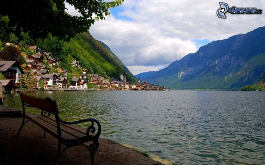 lake, bench, rocky hill, village, houses