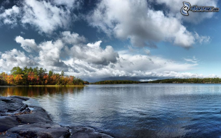 lake, clouds, autumn forest