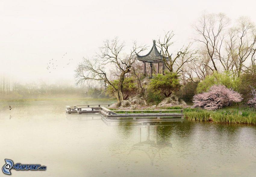 lake, flowering shrubs