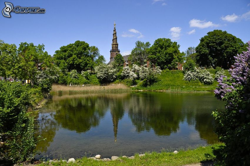 lake, greenery, church, tower