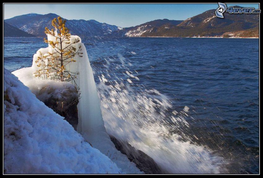 lake, ice, water, hills