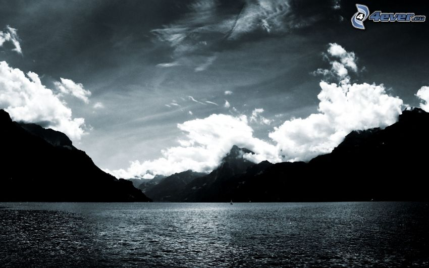 lake, mountains, black and white