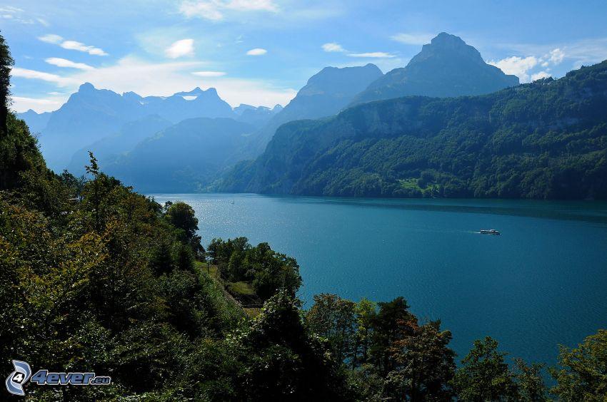 lake, mountains, forest, Switzerland