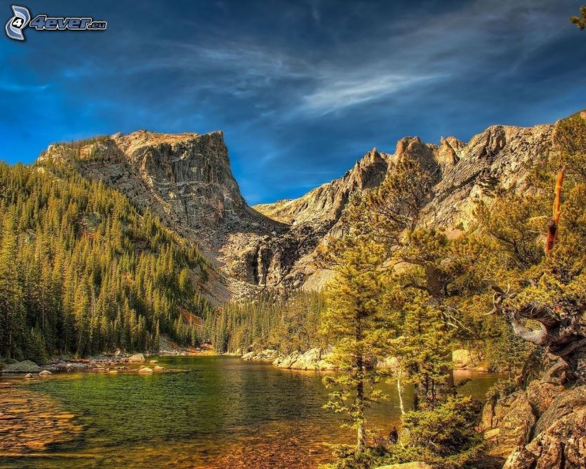 lake, rocks, HDR
