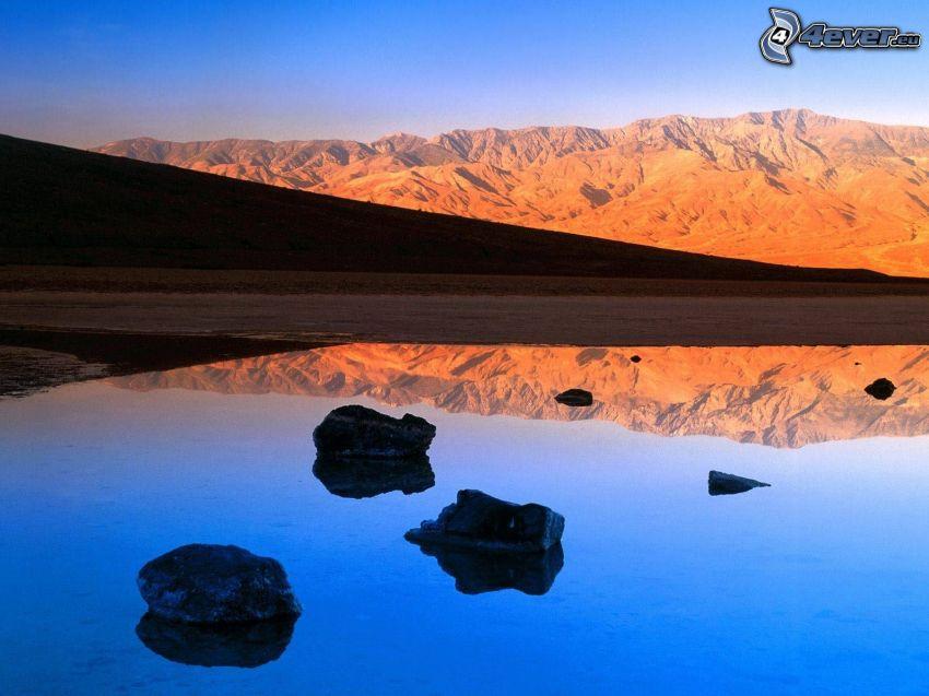 lake, rocks, rocky hills
