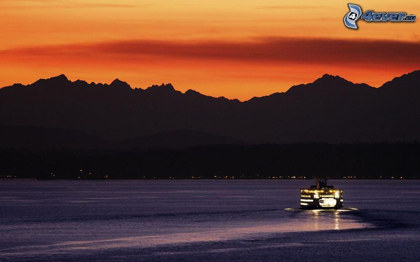 lake, ship, orange sunset, mountains