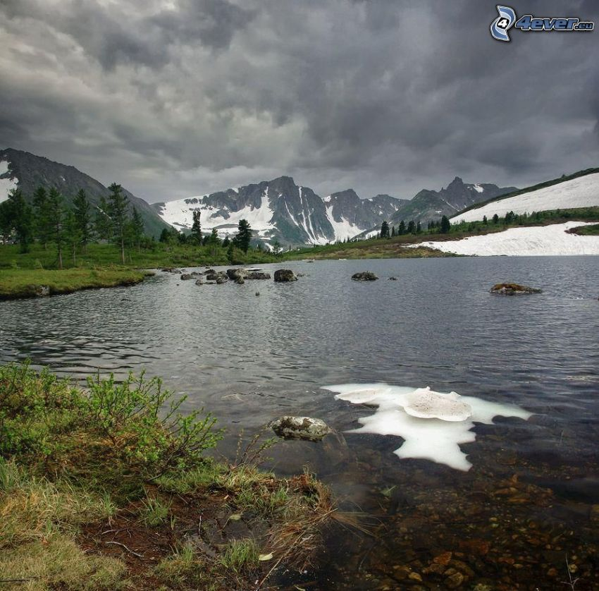 lake, snow, rocky mountains, snowy mountains, clouds