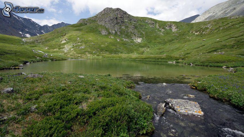 lake, stream, rocky hills