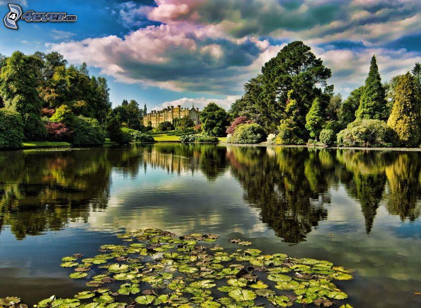 lake, water lilies, greenery, castle, reflection