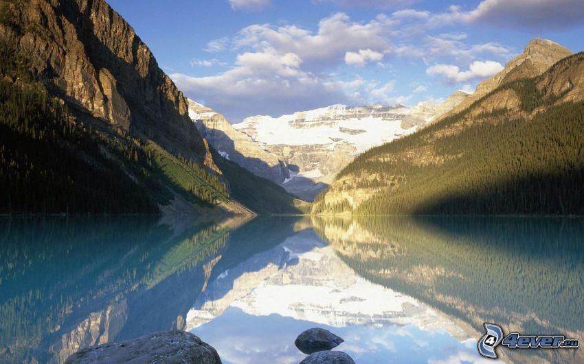 lake Louise, Alberta, Canada, lake, rocky mountains, snowy hill, reflection