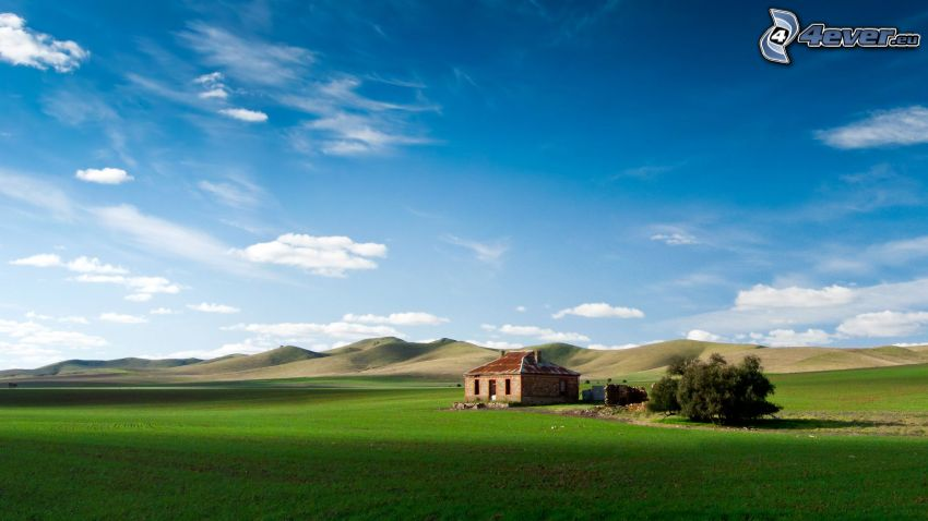 abandoned house, stone house, field, hills