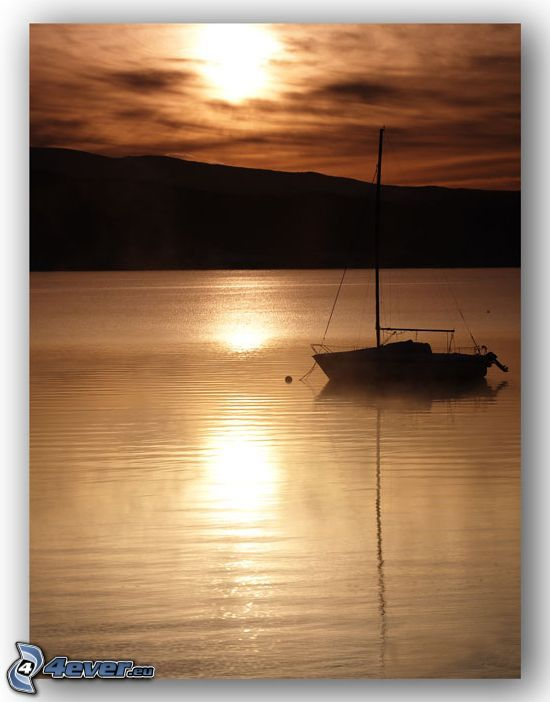 boat on the lake, yacht, sun over lake