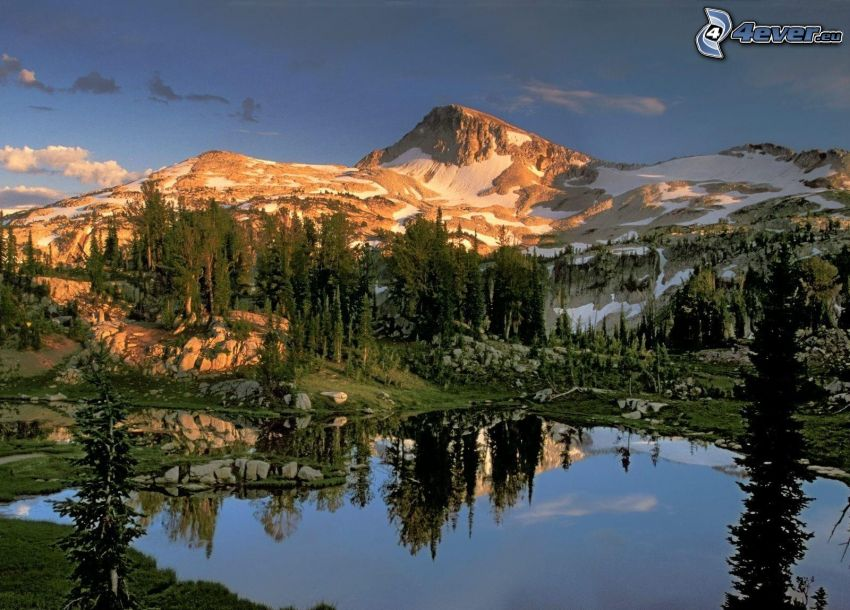 Eagle Cap Wilderness, Oregon, snowy mountain above the lake, mountain lake, coniferous trees, rocks, reflection