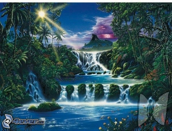 fairy tale land, waterfall, jungle, sun