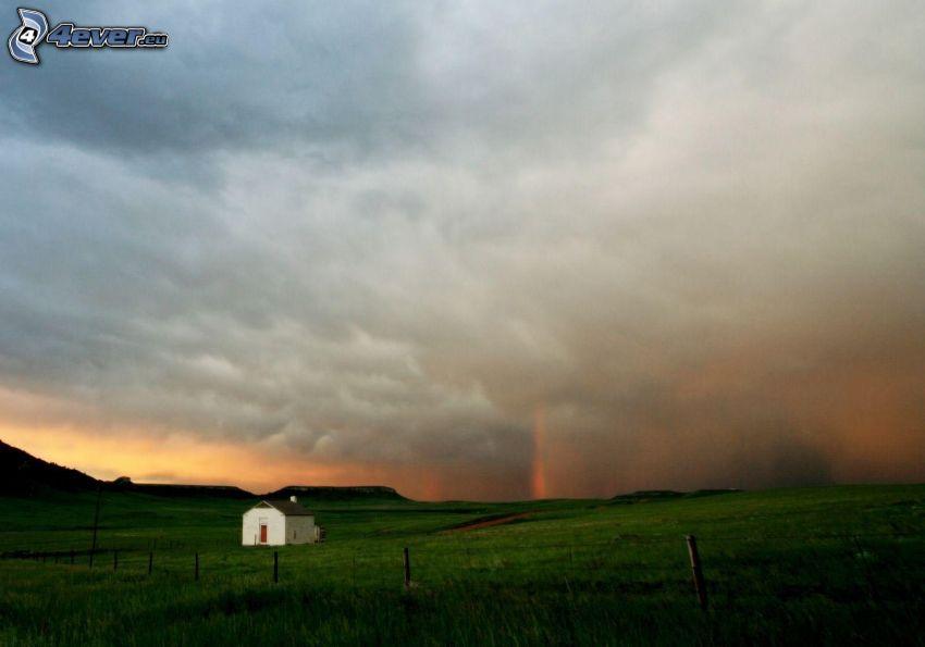 field, house, evening