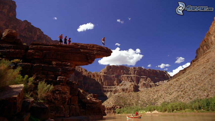 Grand Canyon, tourists, water, boat, adventure