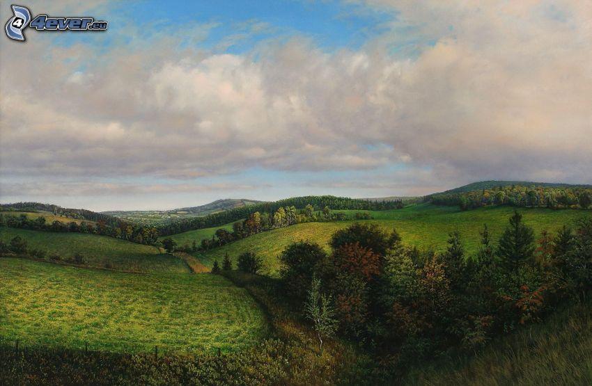 hills, greenery, trees