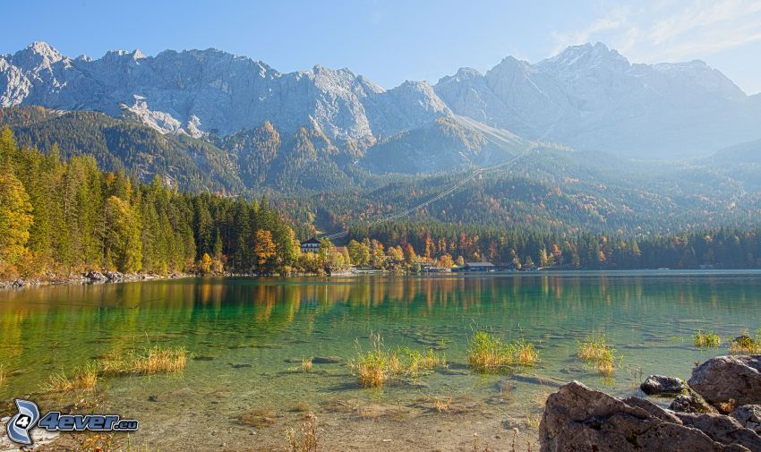 lake, rocky mountains, coniferous forest