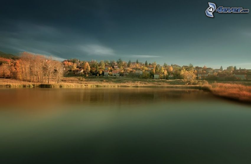 lake, village, autumn trees