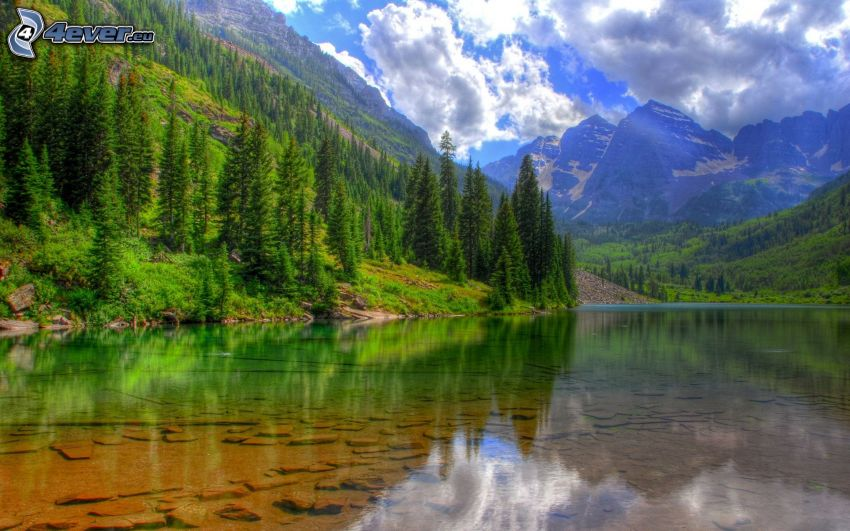 large lake, mountains, coniferous forest, calm water level, HDR