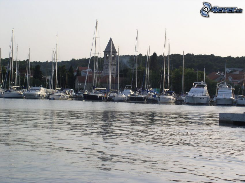 marinas, sea, boats, church