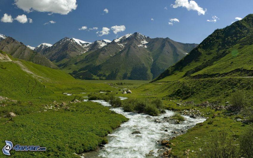 mountain, stream, greenery