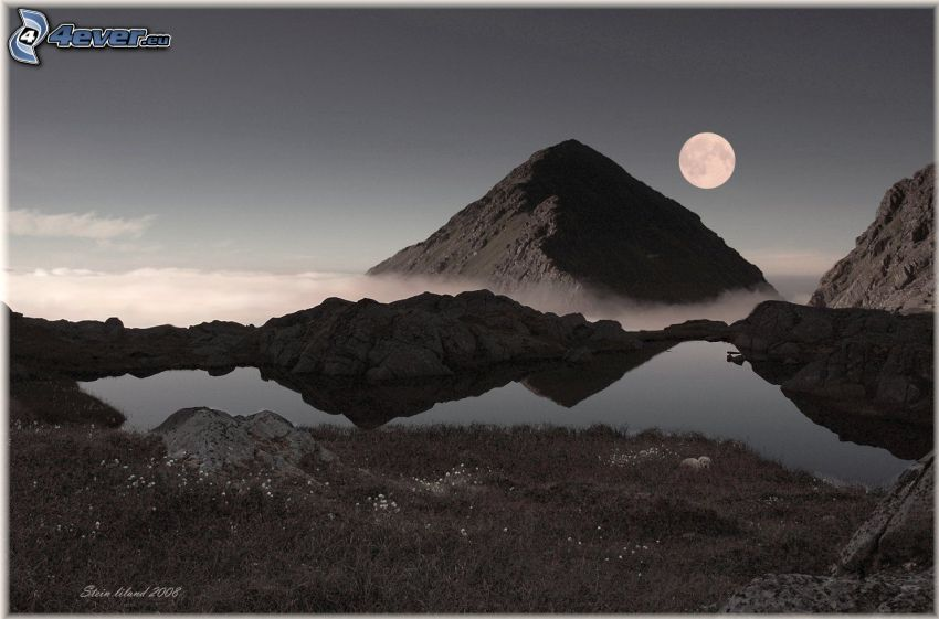 mountain lake, mountains, Moon