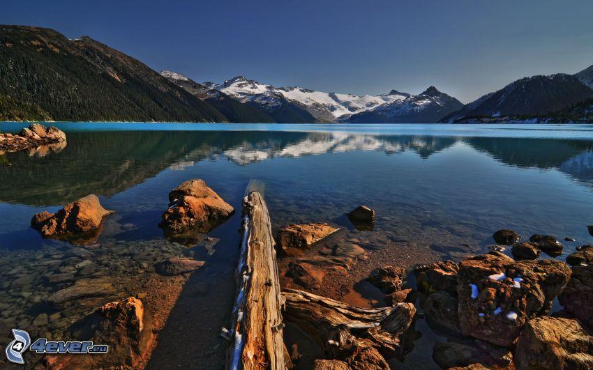 mountain lake, mountains, reflection, calm water level