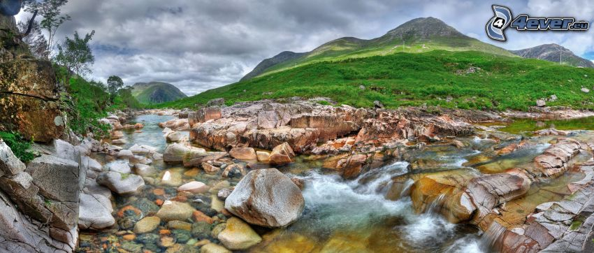 mountain stream, rocks, hills, HDR