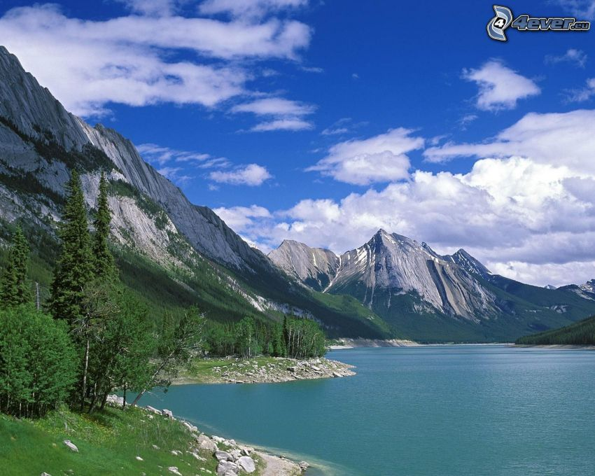 mountains, River, clouds