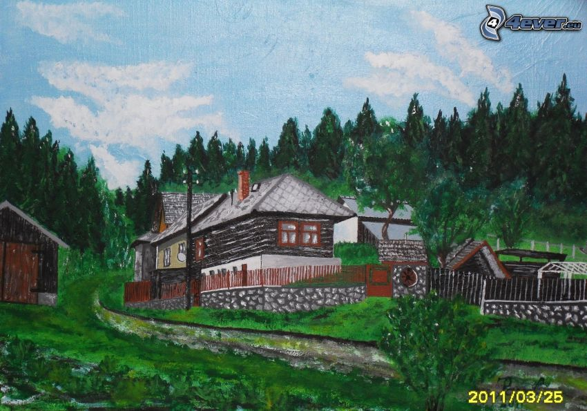 painted village, houses, forest, picture