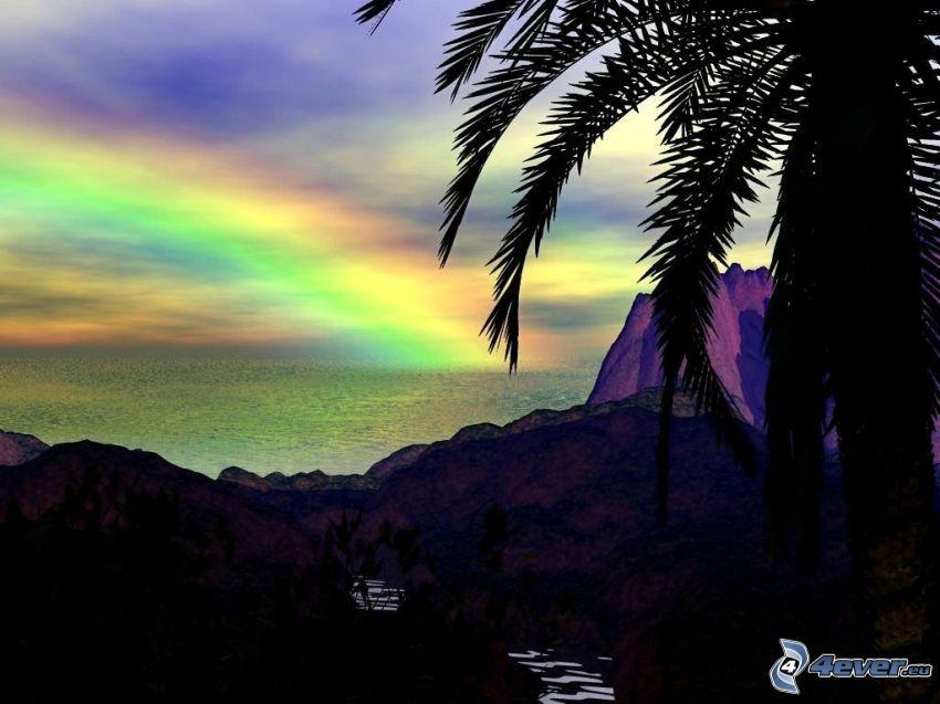 rainbow, island, palm tree, sea