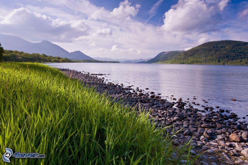 River, gravel, grass, mountain, clouds