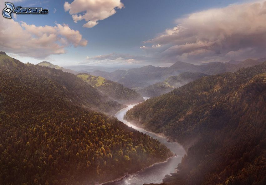 River, valley, mountains, clouds