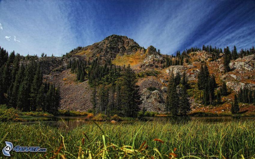 rocky hill, grass, sky