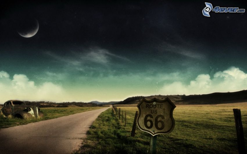 Route 66 US, road, old car, moon, meadow, sign