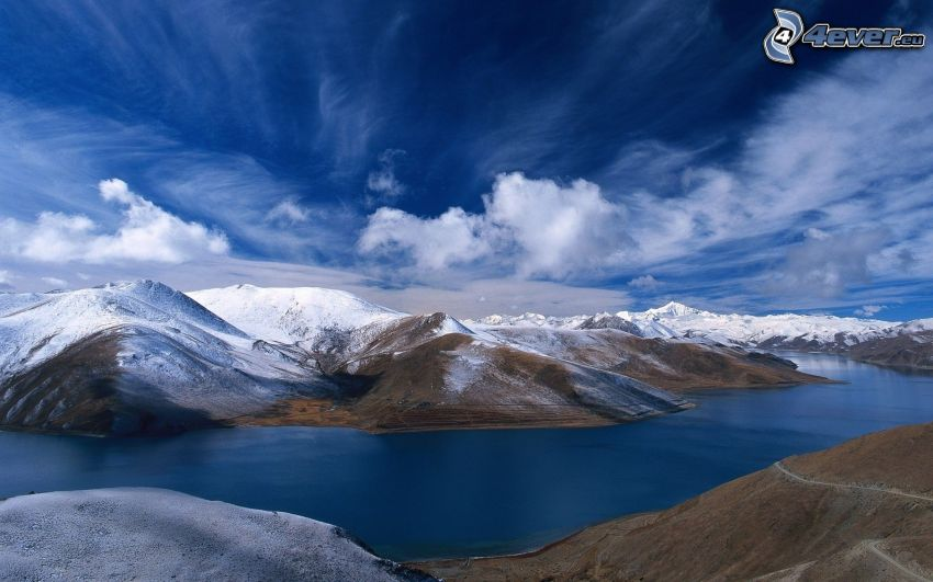 snowy mountains, clouds, River