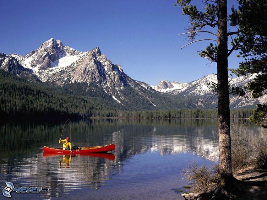 Stanley Lake, fisherman, Sawtooth Mountains, boat, mountains