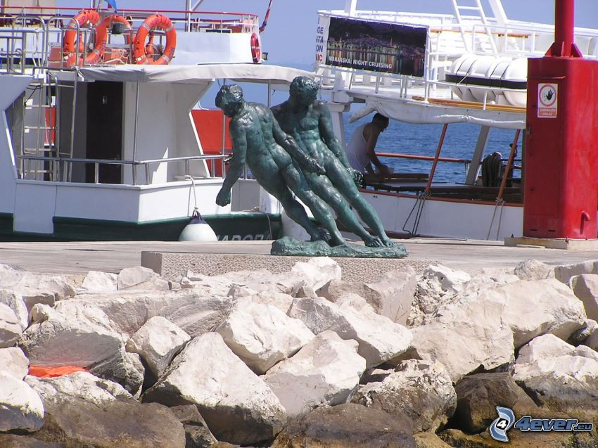 statue, harbor, ship, man, rocks