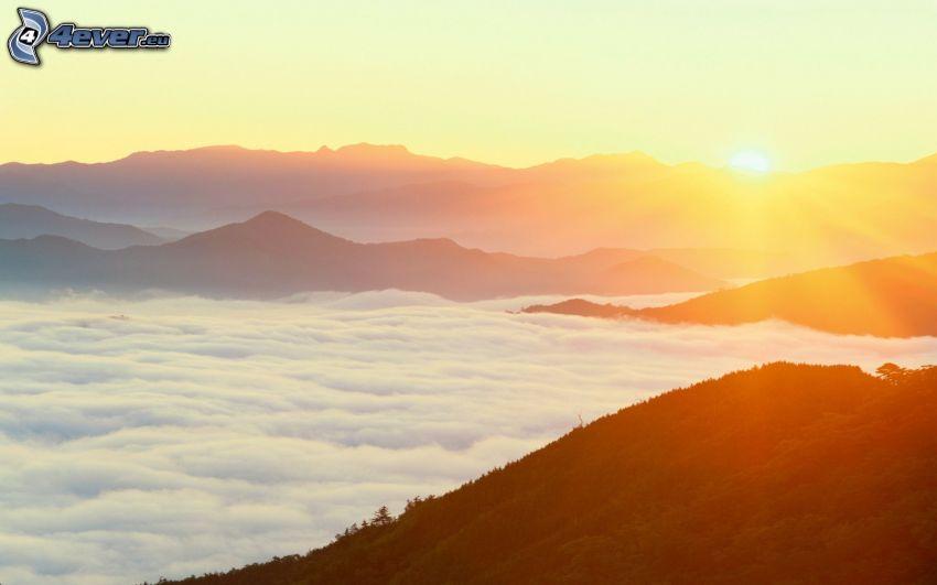 sunrise, inversion, mountains