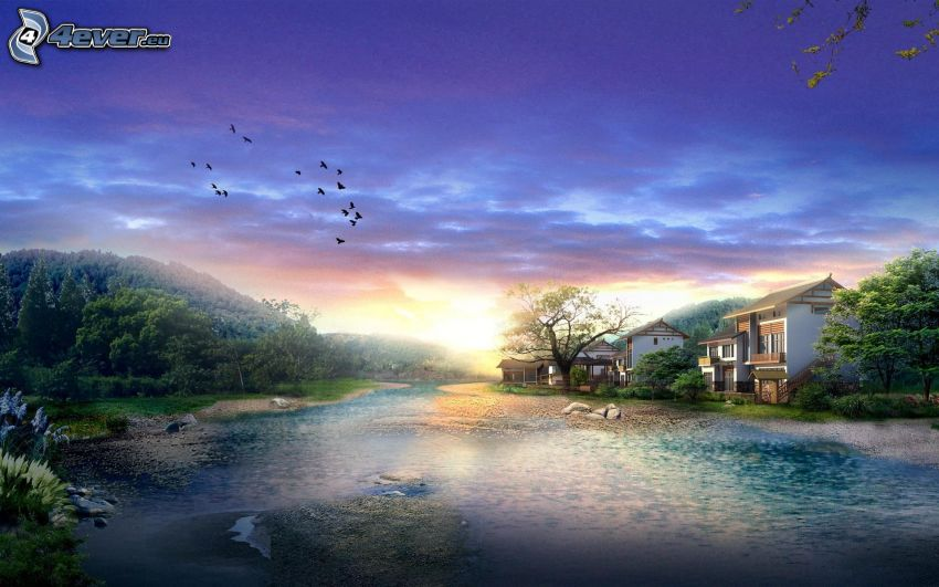 sunset over the lake, houses, birds