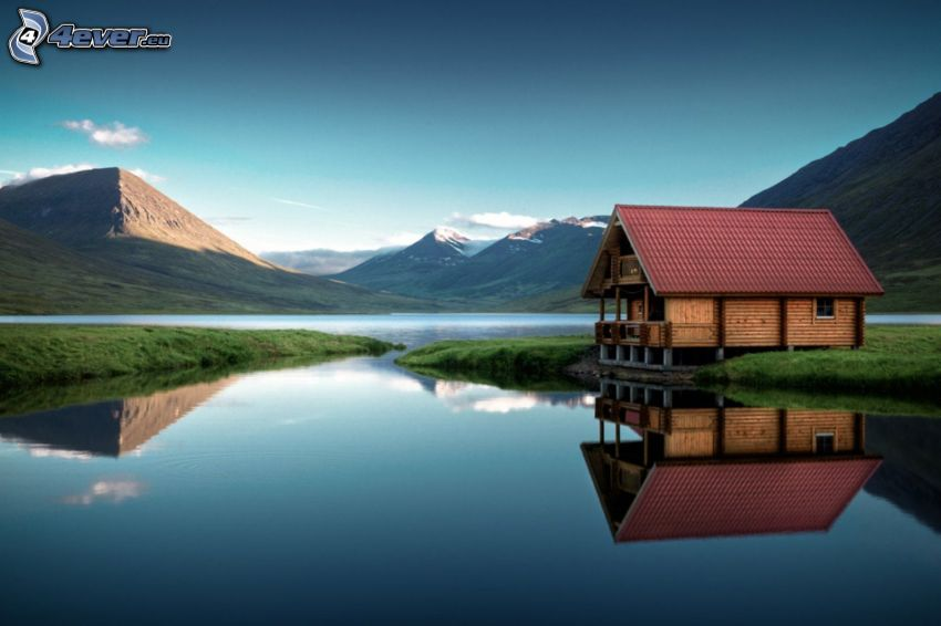 the house on the shore of the lake, cottage, mountains