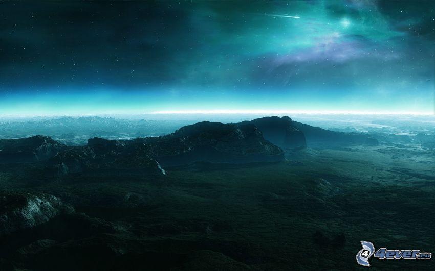 valley, sky, stars