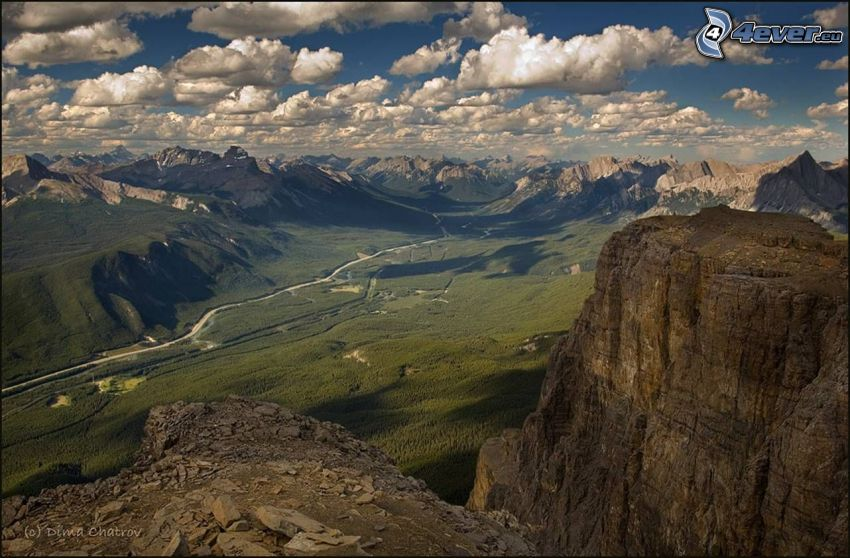 view of the valley, mountains, valley, clouds
