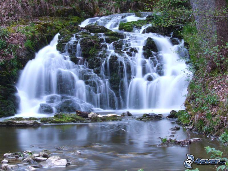 waterfall, landscape, stream